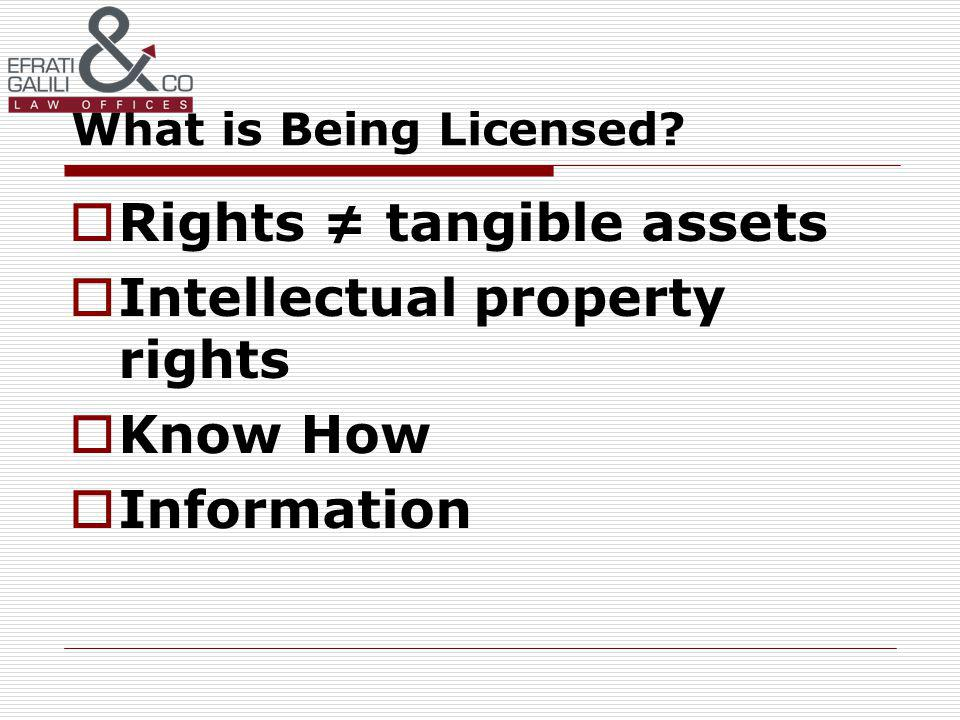 What is Being Licensed Rights tangible assets Intellectual property rights Know How Information