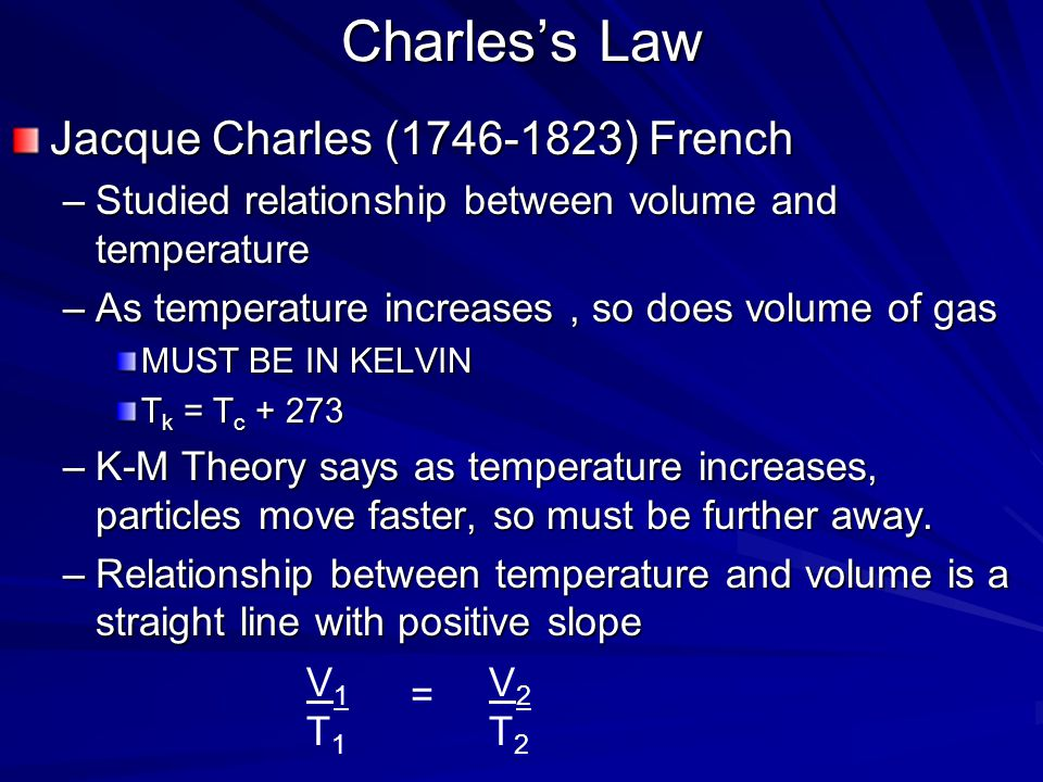 Boyles Law Problem The volume of a gas at 99.0 kPa is 300.0 mL. If the pressure is increased to 188 kPa, what is the new volume? –P 1 V 1 = P 2 V 2 –9