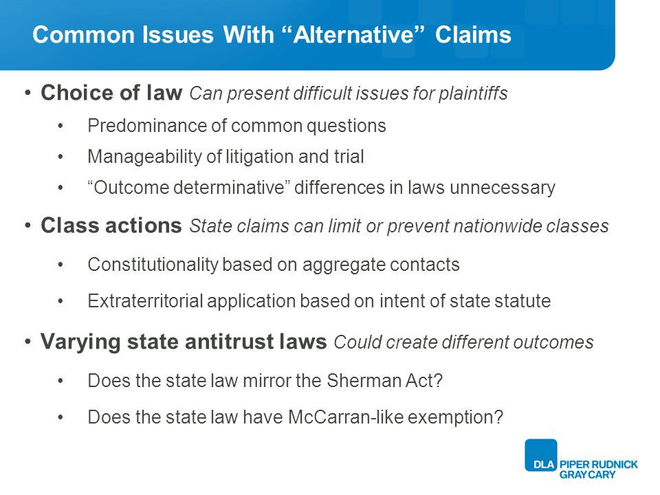 State Antitrust Claims Is a States antitrust law available to plaintiff.