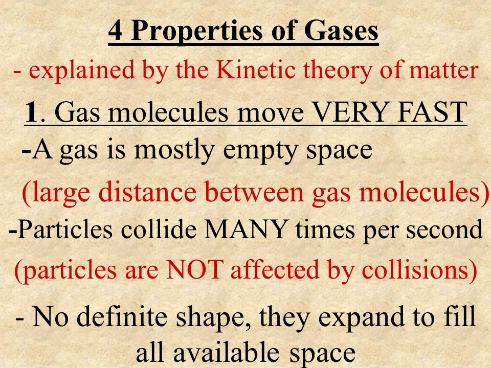 4 Properties of Gases - explained by the Kinetic theory of matter 1. Gas molecules move VERY FAST -A gas is mostly empty space (large distance between