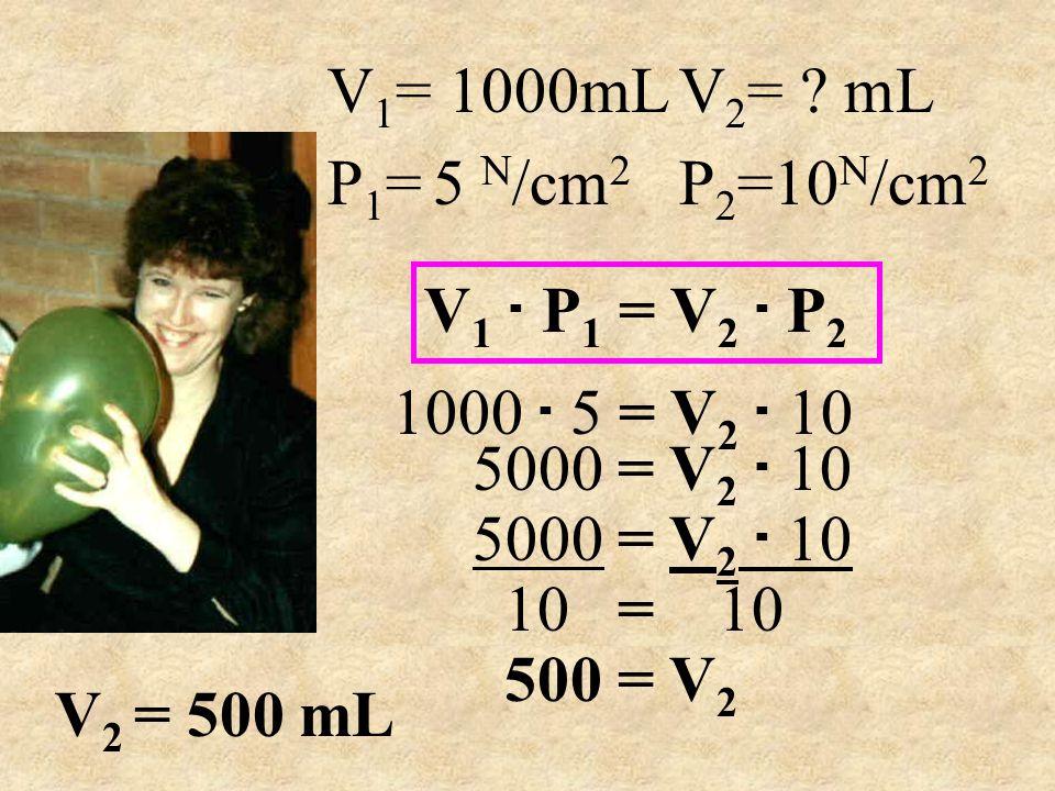 V 1 = 1000mL V 2 = ? mL P 1 =5 N /cm 2 P 2 =10 N /cm 2 1000. 5 = V 2. 10 V 1. P 1 = V 2. P 2 5000 = V 2. 10 10 = 10 500 = V 2 V 2 = 500 mL