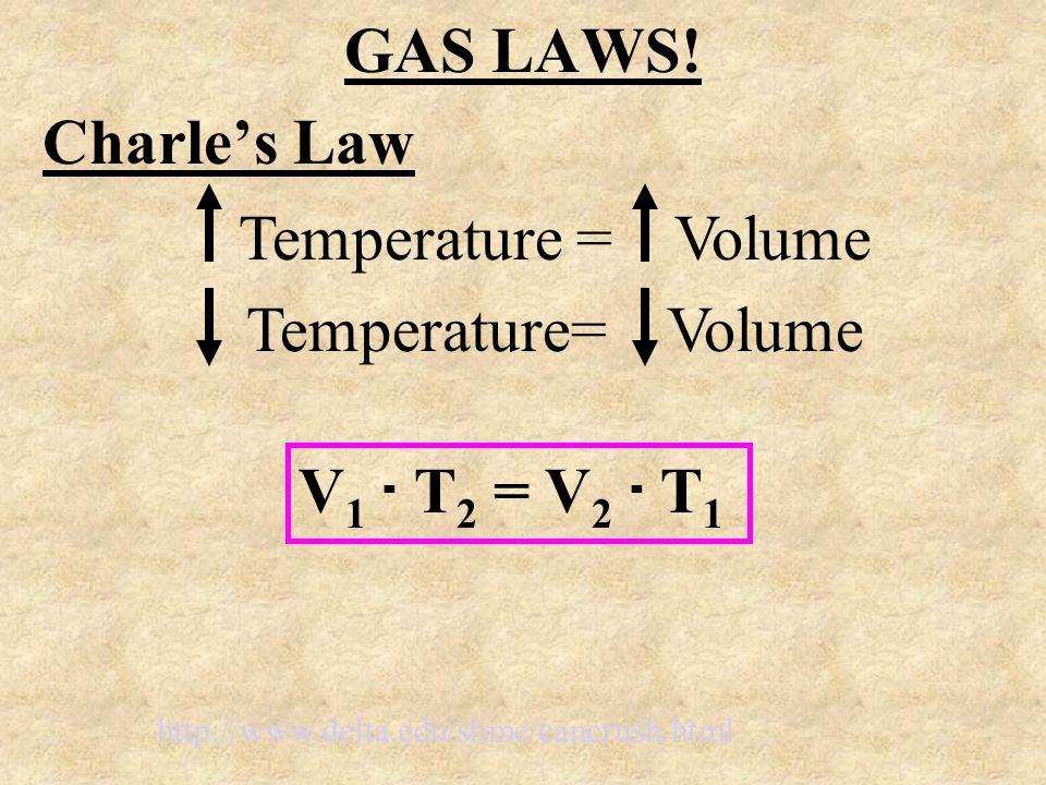 GAS LAWS! Charles Law Temperature = Volume V 1. T 2 = V 2. T 1 http://www.delta.edu/slime/cancrush.html
