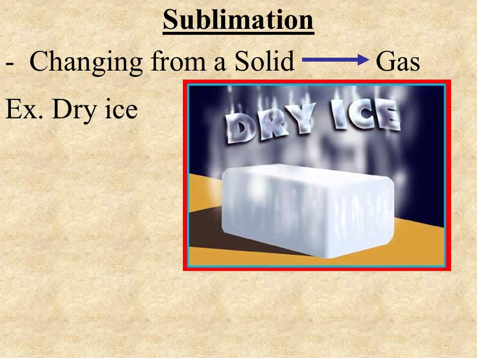 Sublimation - Changing from a Solid Gas Ex. Dry ice