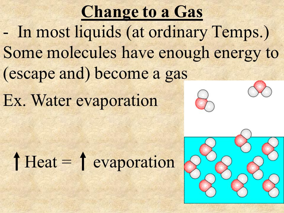 Change to a Gas - In most liquids (at ordinary Temps.) Some molecules have enough energy to (escape and) become a gas Ex. Water evaporation Heat = eva