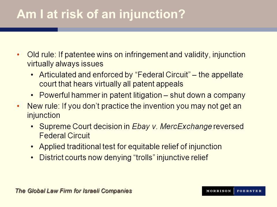 The Global Law Firm for Israeli Companies Post-eBay: Injunction Denied