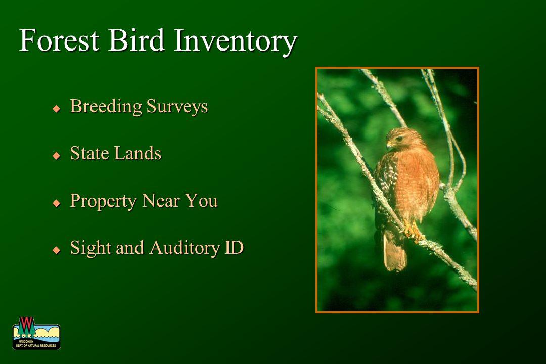 Forest Bird Inventory Breeding Surveys Breeding Surveys State Lands State Lands Property Near You Property Near You Sight and Auditory ID Sight and Au