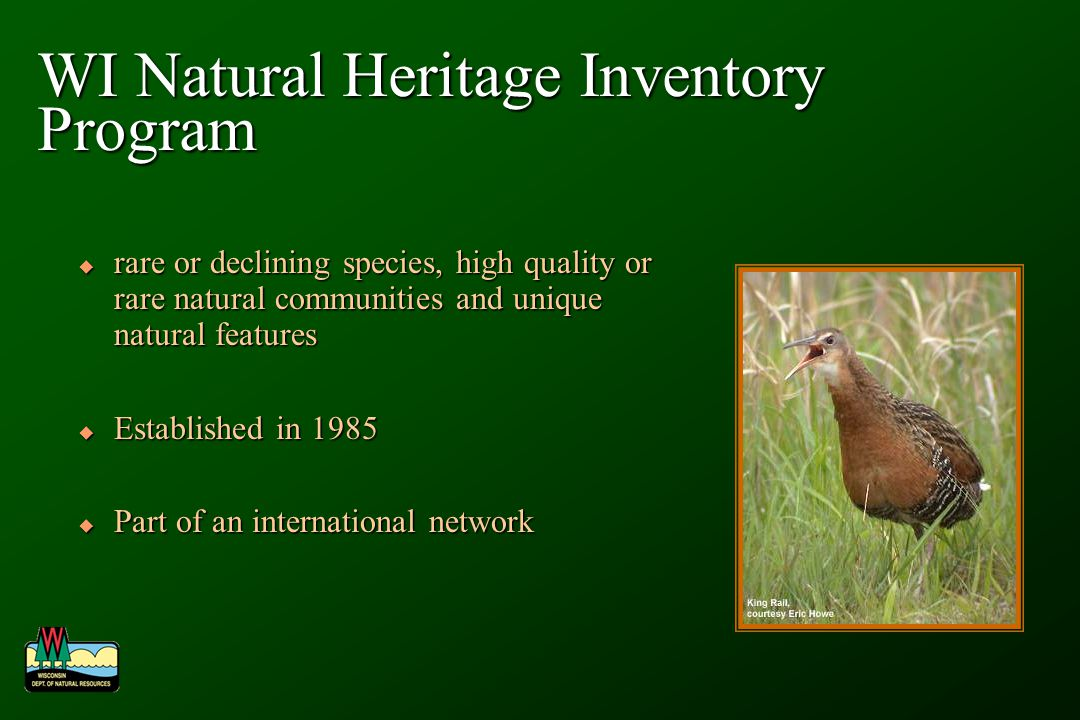 WI Natural Heritage Inventory Program rare or declining species, high quality or rare natural communities and unique natural features rare or declining species, high quality or rare natural communities and unique natural features Established in 1985 Established in 1985 Part of an international network Part of an international network