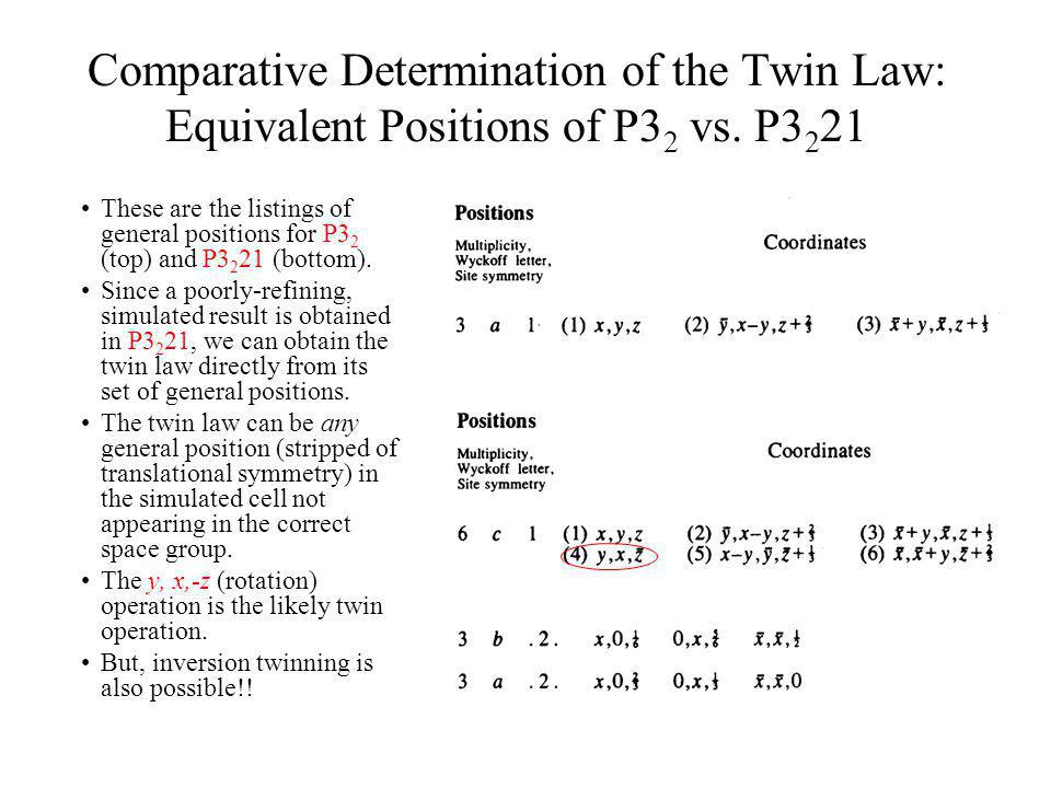 Comparative Determination of the Twin Law: Equivalent Positions of P3 2 vs. P3 2 21 These are the listings of general positions for P3 2 (top) and P3