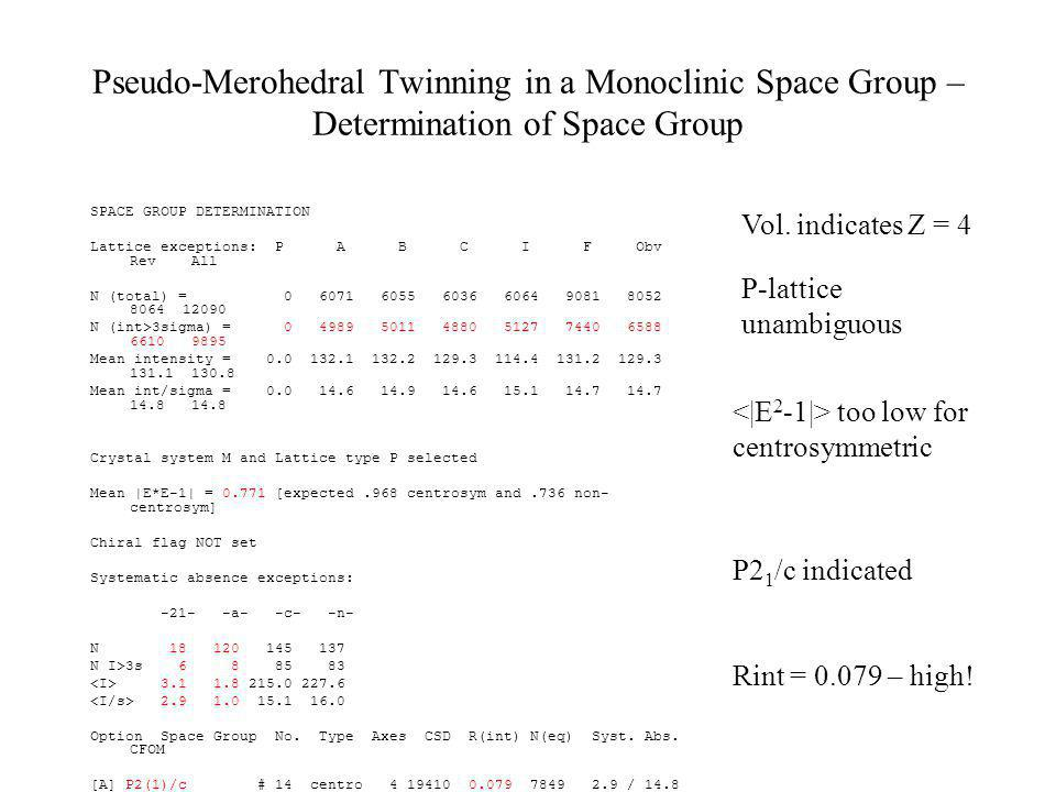 Pseudo-Merohedral Twinning in a Monoclinic Space Group – Determination of Space Group SPACE GROUP DETERMINATION Lattice exceptions: P A B C I F Obv Re