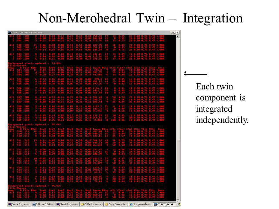 Non-Merohedral Twin – Integration Each twin component is integrated independently.