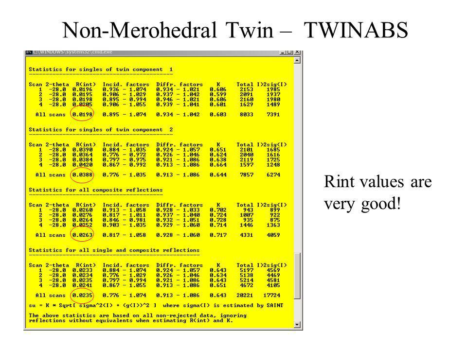 Non-Merohedral Twin – TWINABS Rint values are very good!