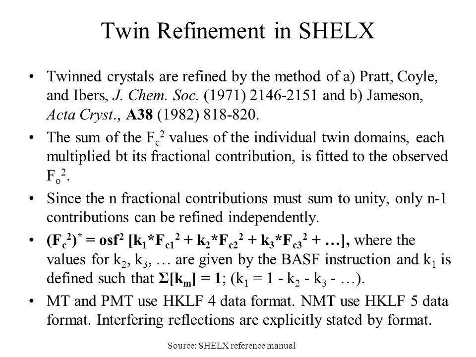 Common Pseudo-Merohedral Twins 1) A pseudo-merohedral twin can occur if the cell constants from a specimen imitate a higher crystal system.