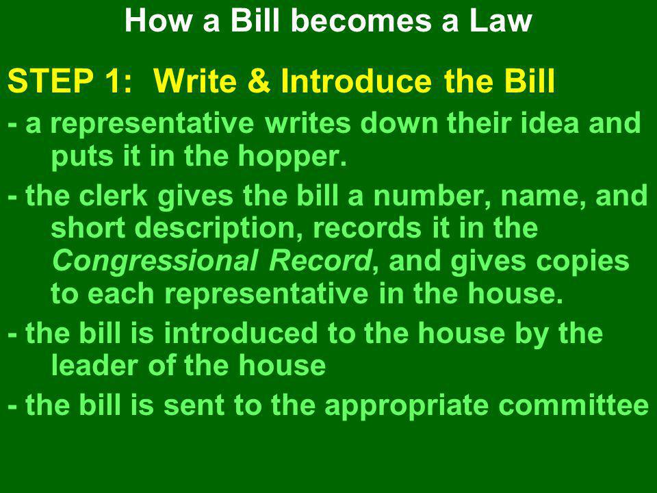 STEP 1: Write & Introduce the Bill - a representative writes down their idea and puts it in the hopper. - the clerk gives the bill a number, name, and