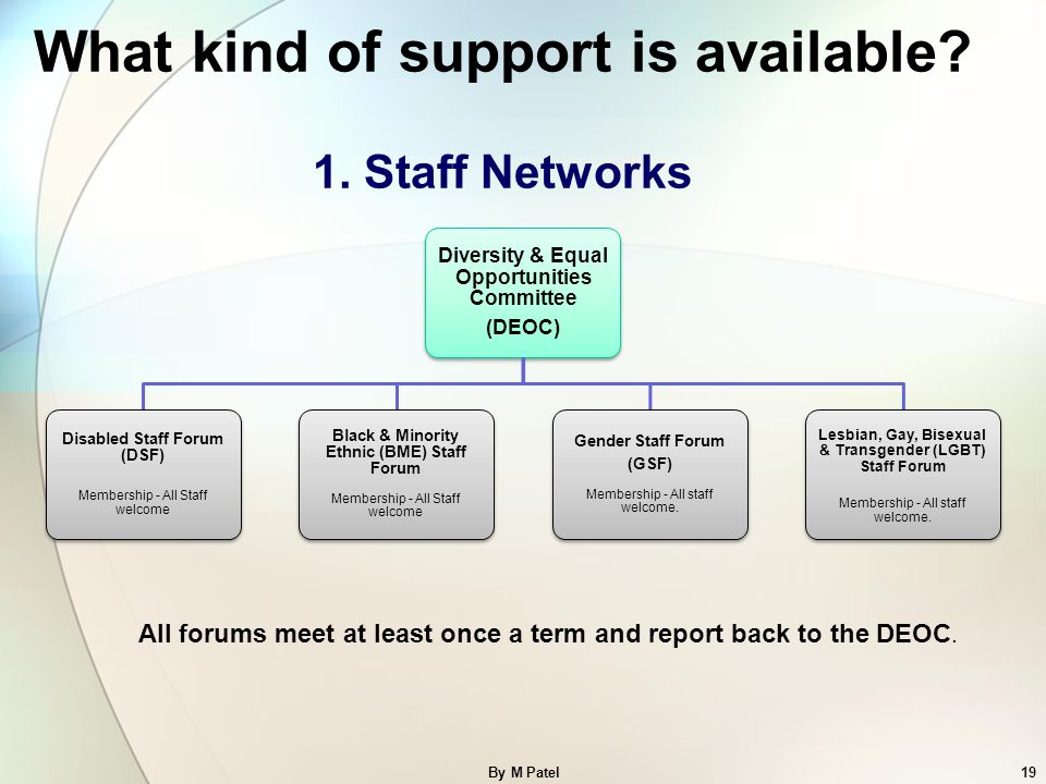 By M Patel19 What kind of support is available? 1. Staff Networks Diversity & Equal Opportunities Committee (DEOC) Disabled Staff Forum (DSF) Membersh