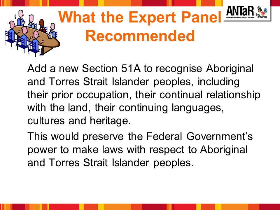 What the Expert Panel Recommended Add a new Section 51A to recognise Aboriginal and Torres Strait Islander peoples, including their prior occupation,