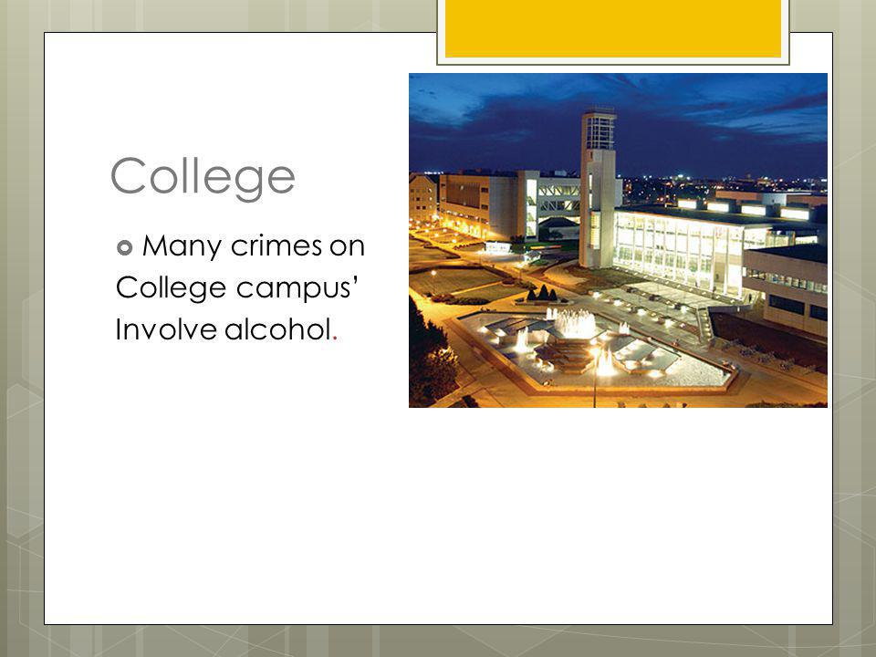 Crime on Campus One third of students reported that drugs were available to them at school. Bullying Weapons