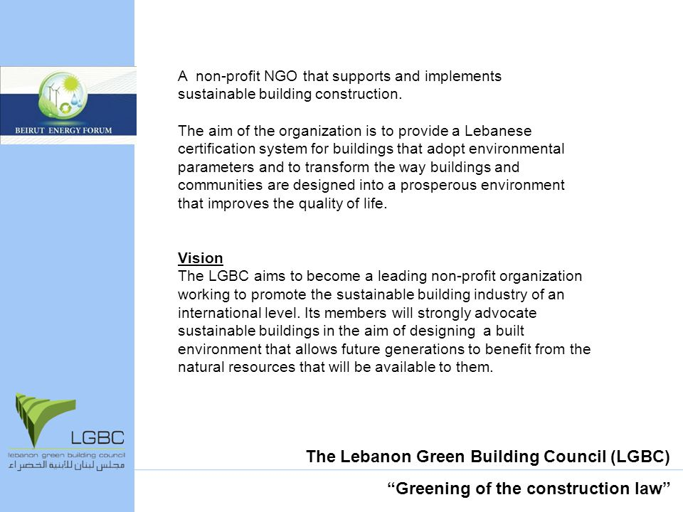 A non-profit NGO that supports and implements sustainable building construction.