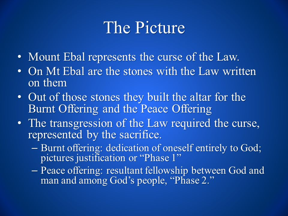 The Picture Mount Ebal represents the curse of the Law.