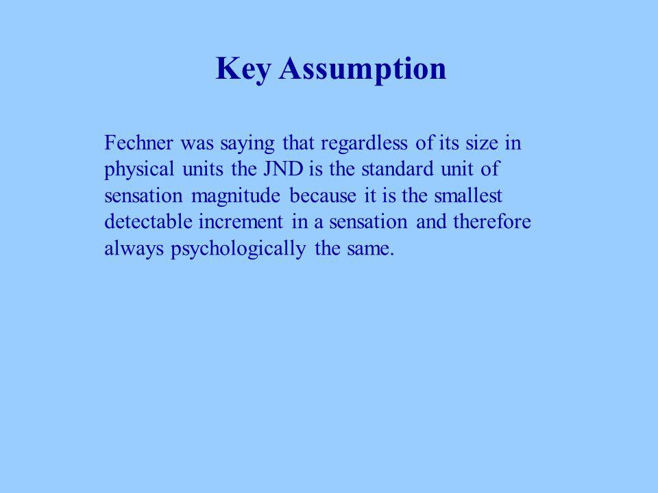 Fechner was saying that regardless of its size in physical units the JND is the standard unit of sensation magnitude because it is the smallest detectable increment in a sensation and therefore always psychologically the same.