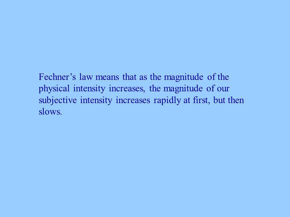Fechners law means that as the magnitude of the physical intensity increases, the magnitude of our subjective intensity increases rapidly at first, but then slows.