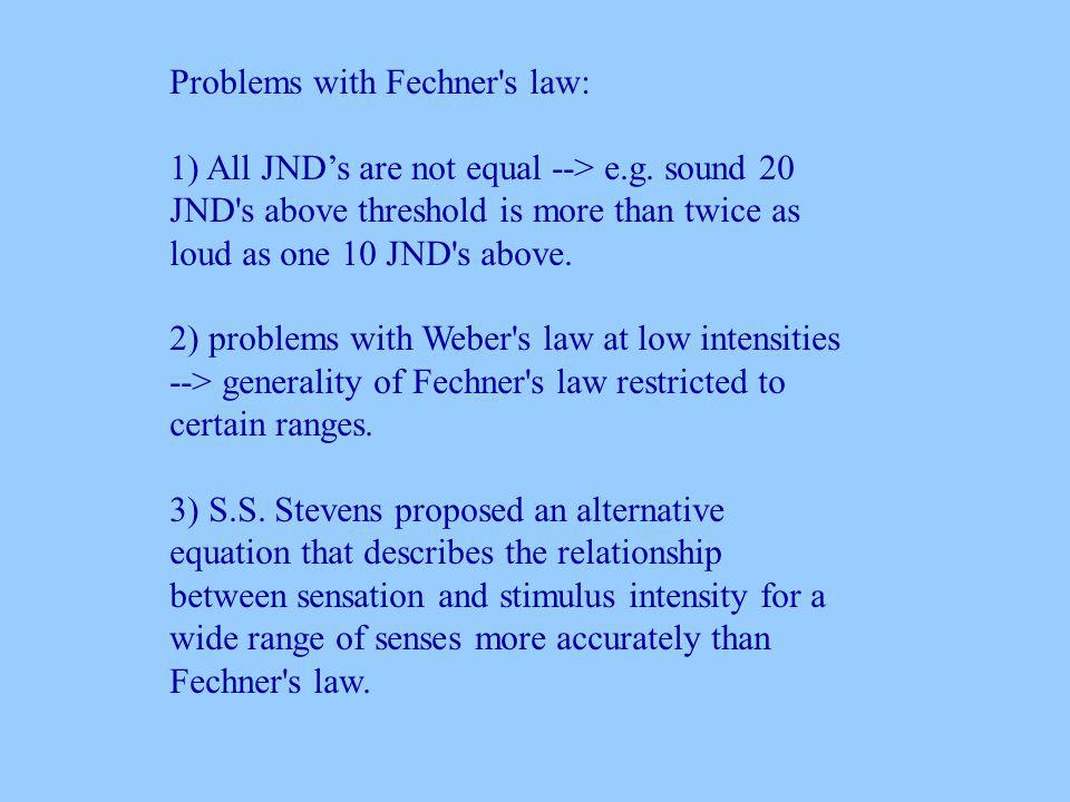 Problems with Fechner s law: 1) All JNDs are not equal --> e.g.