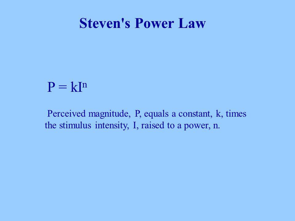 P = kI n Perceived magnitude, P, equals a constant, k, times the stimulus intensity, I, raised to a power, n.