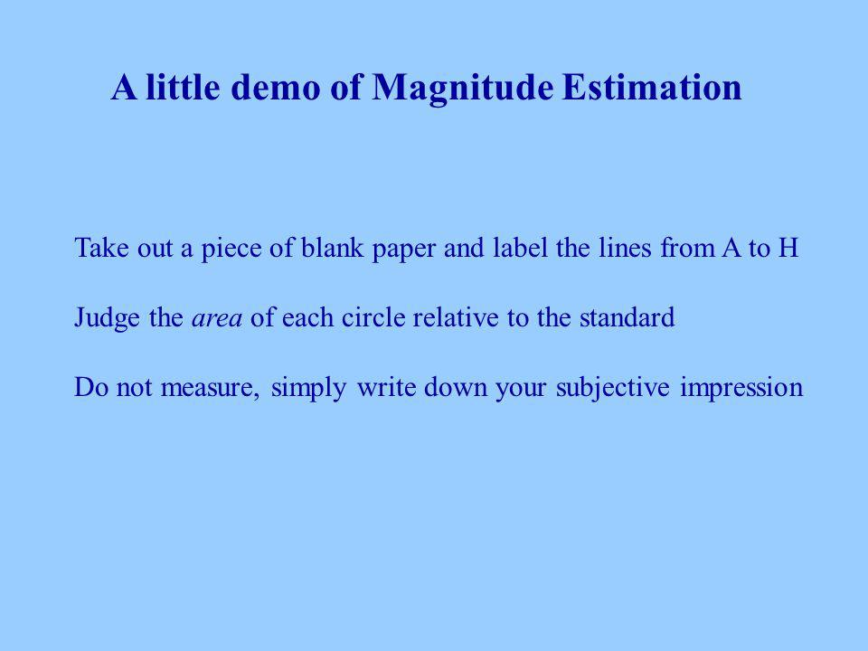 Take out a piece of blank paper and label the lines from A to H Judge the area of each circle relative to the standard Do not measure, simply write down your subjective impression A little demo of Magnitude Estimation