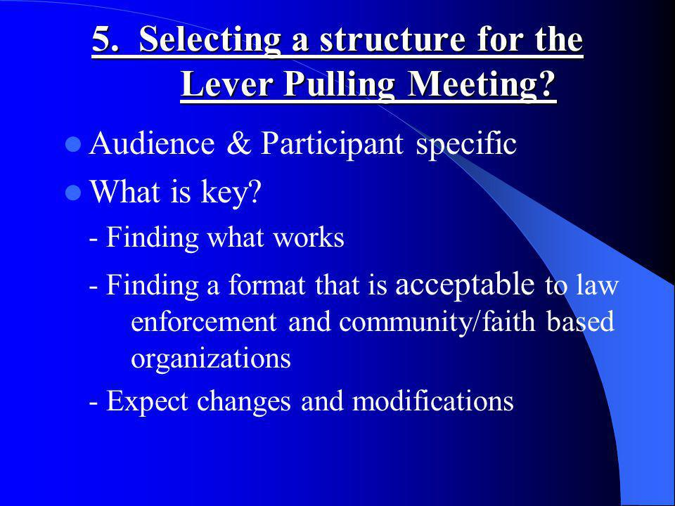 5. Selecting a structure for the Lever Pulling Meeting.
