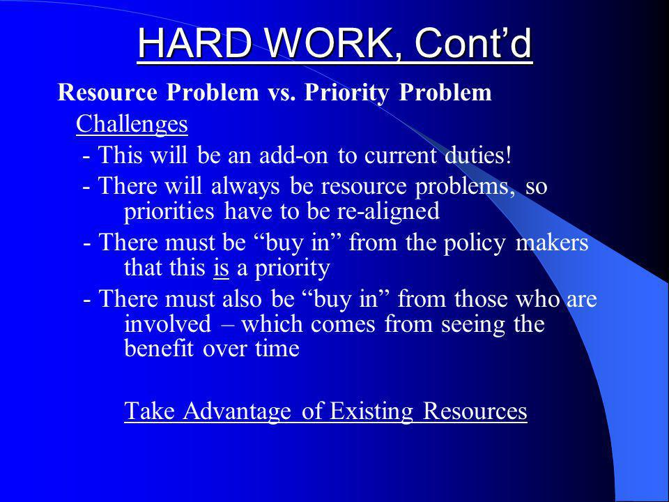 HARD WORK, Contd Resource Problem vs.