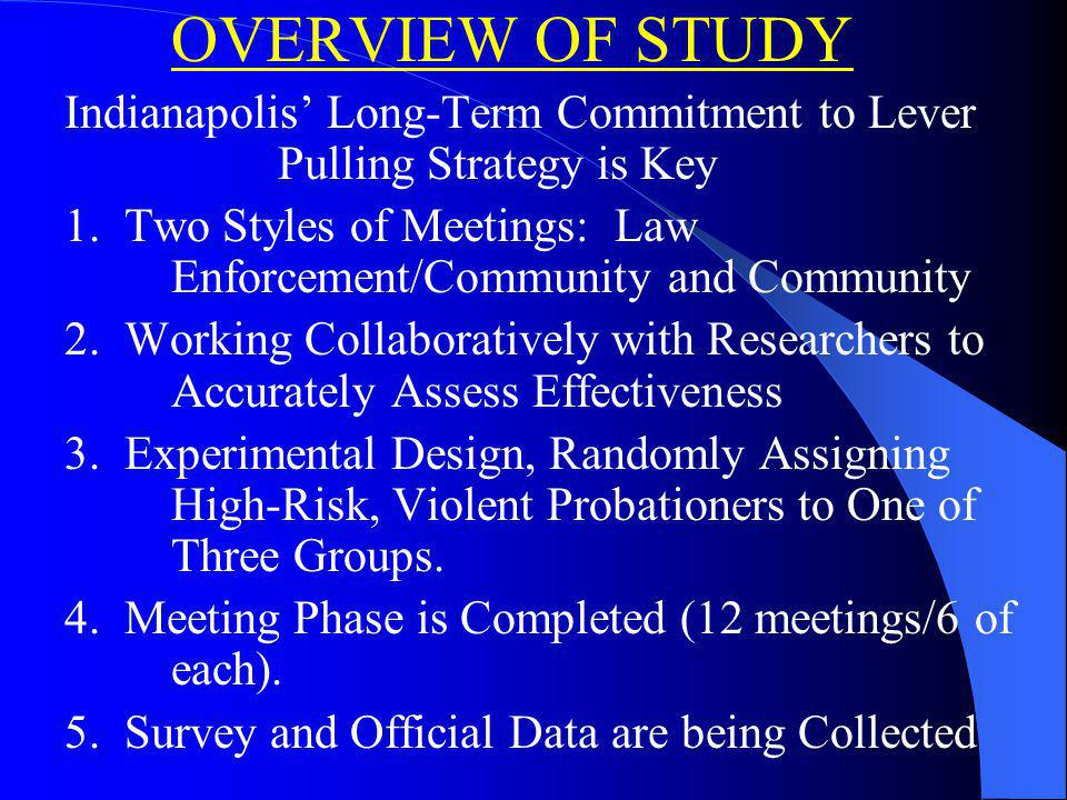 OVERVIEW OF STUDY Indianapolis Long-Term Commitment to Lever Pulling Strategy is Key 1.