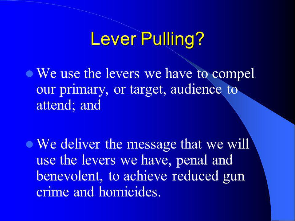 The Indianapolis Lever Pulling Experiment In early 2003, lever-pulling in Indianapolis evolved once again when the decision was made by working group members to try another innovative approach to lever-pulling.
