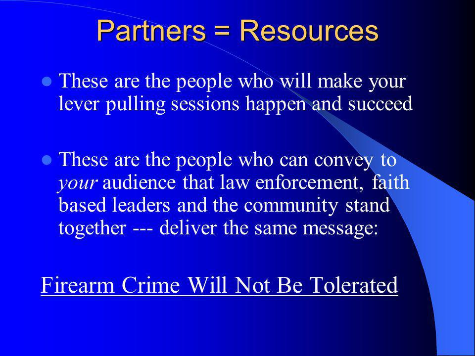 Lever Pulling Sessions Are Adaptable They may be focused upon your particular gun crime problem – Drugs – Gangs – Felons in possession – Domestic violence, etc.