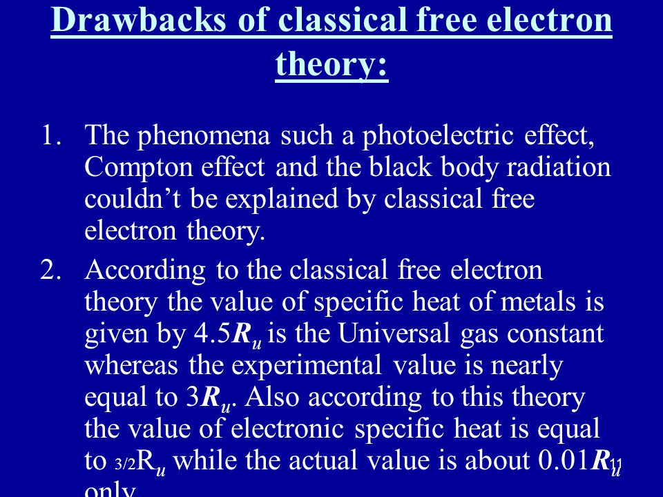 11 Drawbacks of classical free electron theory: 1.The phenomena such a photoelectric effect, Compton effect and the black body radiation couldnt be explained by classical free electron theory.