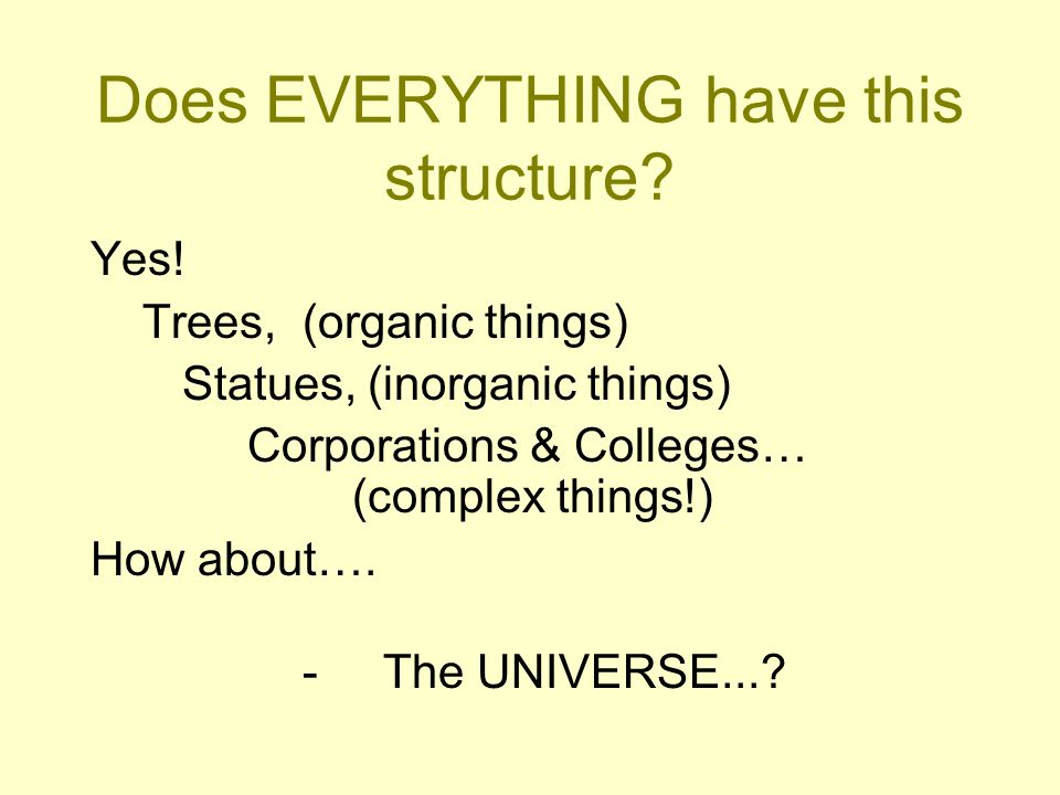 Does EVERYTHING have this structure. Yes.