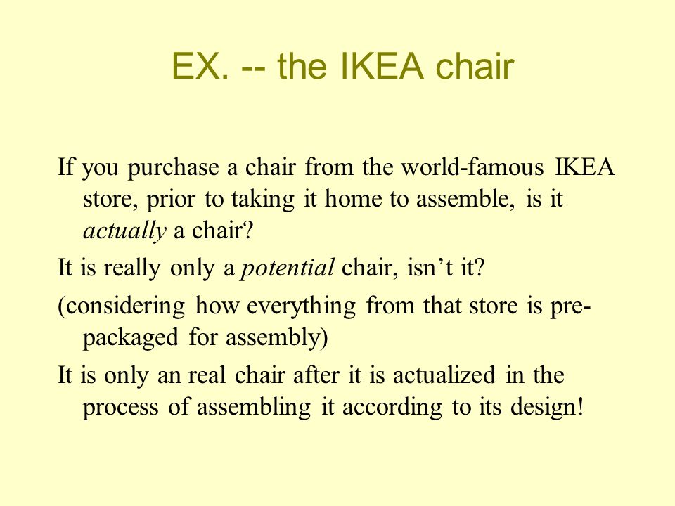 EX. -- the IKEA chair If you purchase a chair from the world-famous IKEA store, prior to taking it home to assemble, is it actually a chair? It is rea