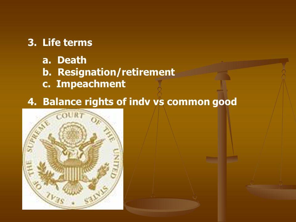 3.Life terms a. Death b. Resignation/retirement c. Impeachment 4. Balance rights of indv vs common good