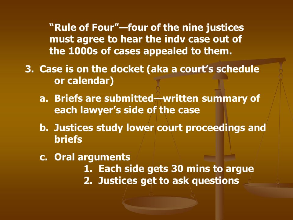 Rule of Fourfour of the nine justices must agree to hear the indv case out of the 1000s of cases appealed to them. 3.Case is on the docket (aka a cour