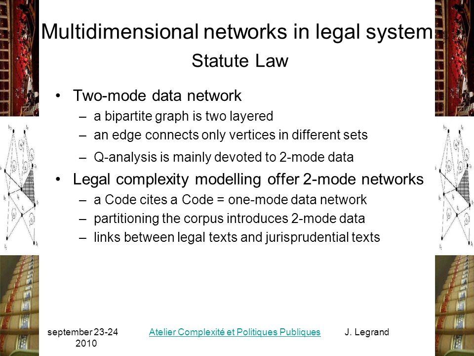 september 23-24 2010 Atelier Complexité et Politiques PubliquesJ. Legrand 13 Multidimensional networks in legal system Statute Law Two-mode data netwo