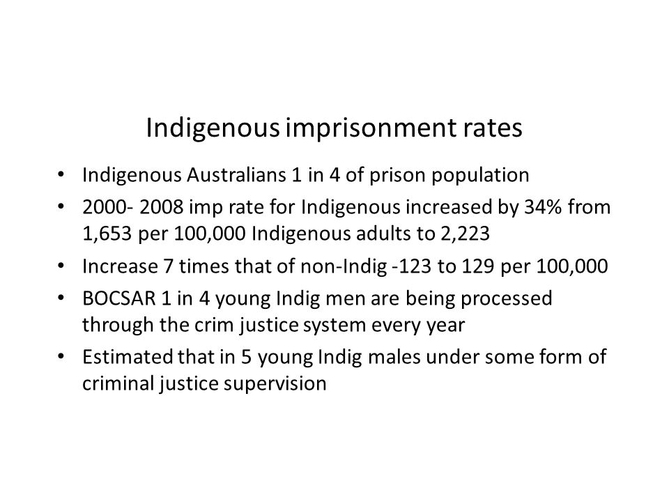 Indigenous imprisonment rates Indigenous Australians 1 in 4 of prison population 2000- 2008 imp rate for Indigenous increased by 34% from 1,653 per 10