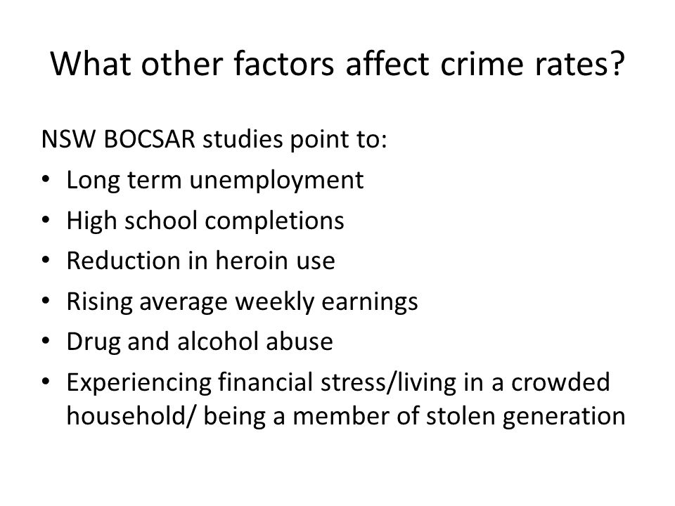 What other factors affect crime rates.