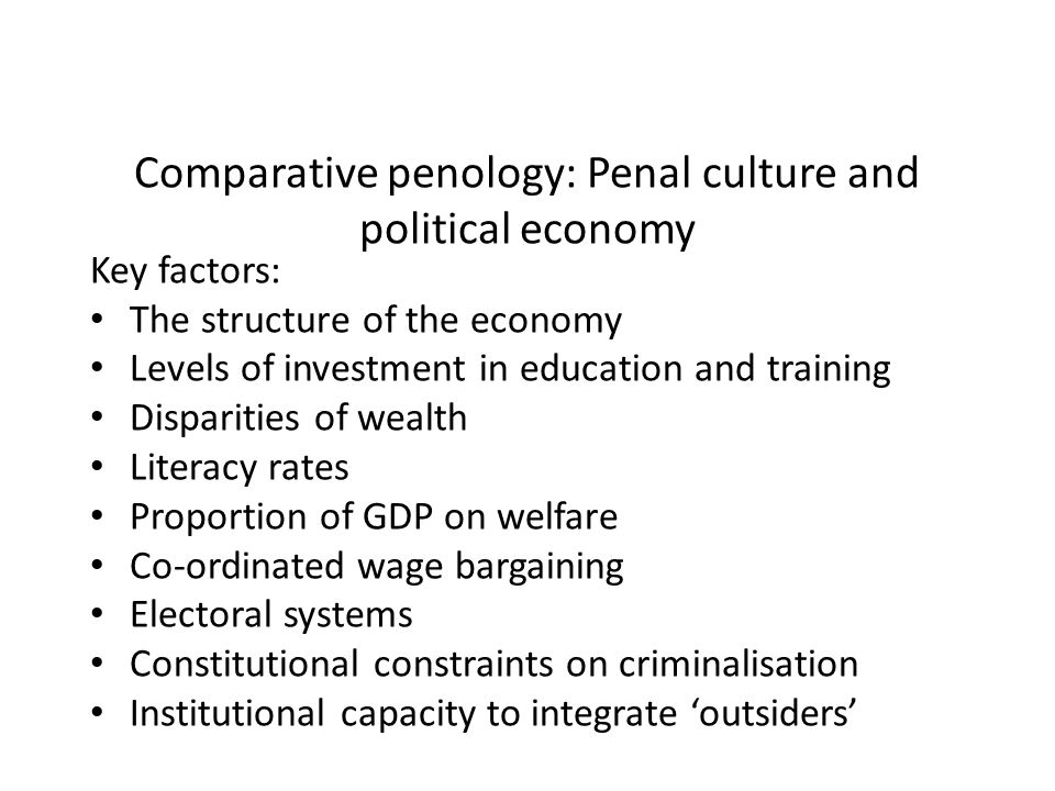 Comparative penology: Penal culture and political economy Key factors: The structure of the economy Levels of investment in education and training Disparities of wealth Literacy rates Proportion of GDP on welfare Co-ordinated wage bargaining Electoral systems Constitutional constraints on criminalisation Institutional capacity to integrate outsiders