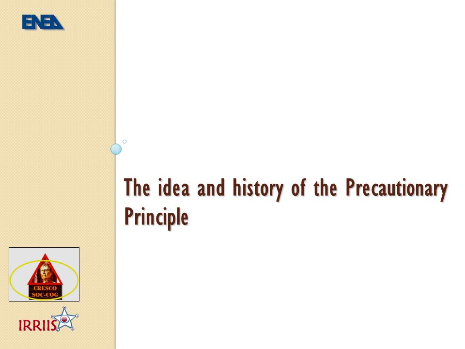 The precautionary approach The precautionary approach has been applied since the beginning of humanity http://en.wikipedia.org/wiki/Caveman Idea and history PP approach Application aspects in DM PP & LCC I
