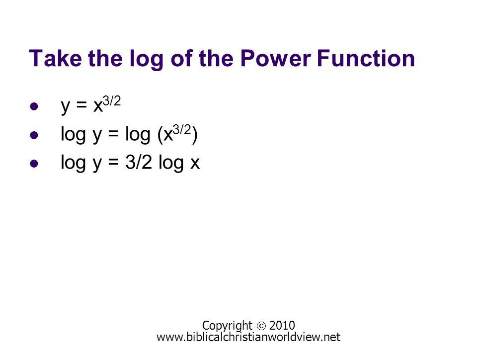 Take the log of the Power Function y = x 3/2 log y = log (x 3/2 ) log y = 3/2 log x Copyright 2010 www.biblicalchristianworldview.net