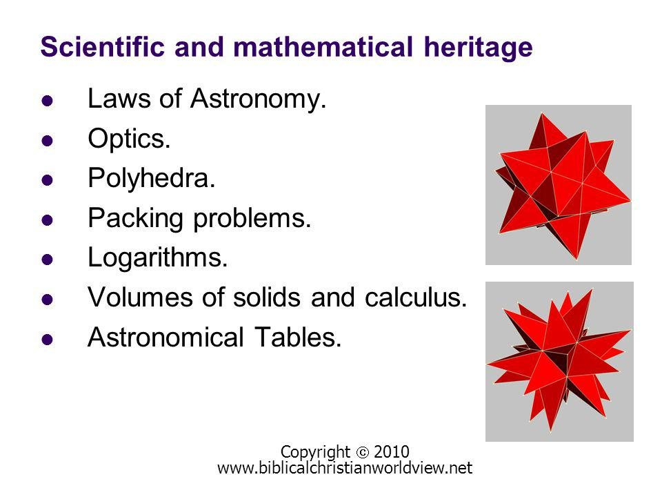 Scientific and mathematical heritage Laws of Astronomy.