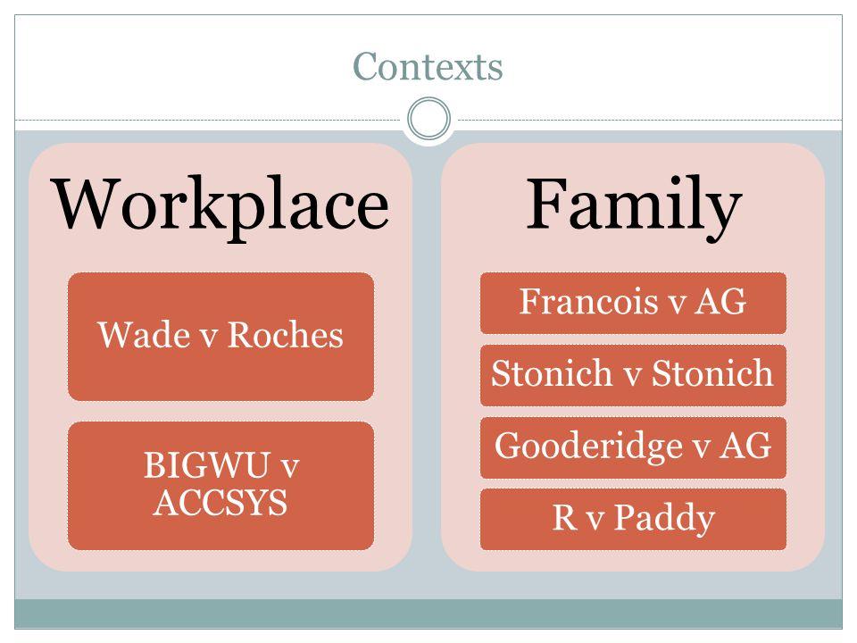 Contexts Workplace Wade v Roches BIGWU v ACCSYS Family Francois v AGStonich v StonichGooderidge v AGR v Paddy
