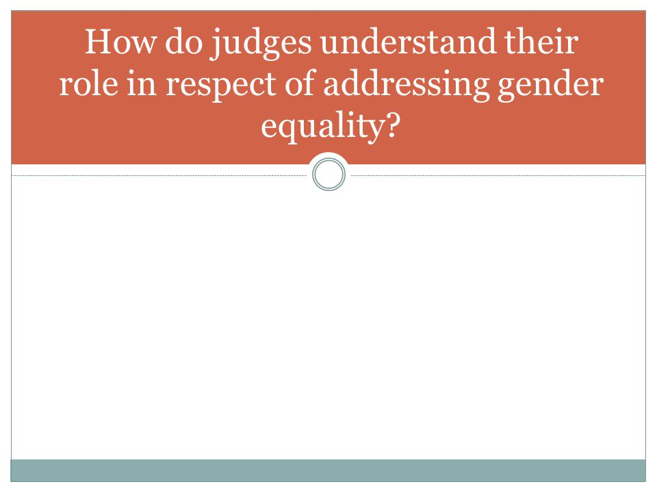 How do judges understand their role in respect of addressing gender equality?