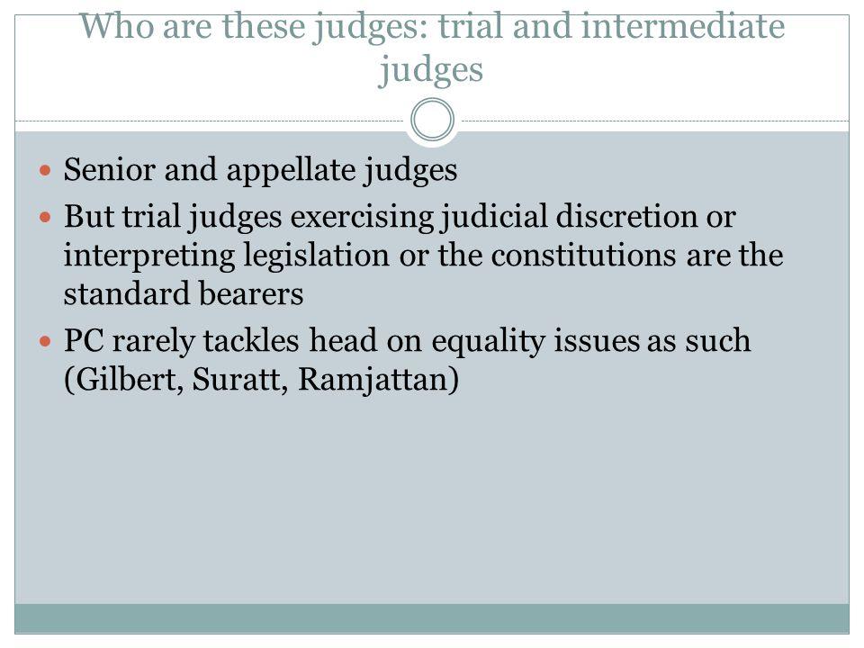 Who are these judges: trial and intermediate judges Senior and appellate judges But trial judges exercising judicial discretion or interpreting legisl