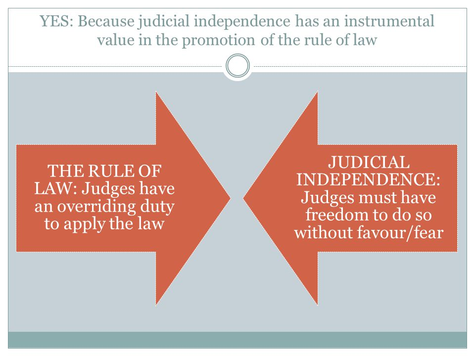 YES: Because judicial independence has an instrumental value in the promotion of the rule of law THE RULE OF LAW: Judges have an overriding duty to apply the law JUDICIAL INDEPENDENCE: Judges must have freedom to do so without favour/fear