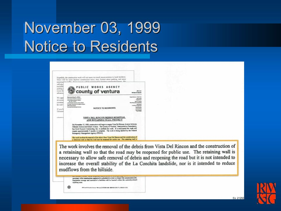 November 03, 1999 Notice to Residents