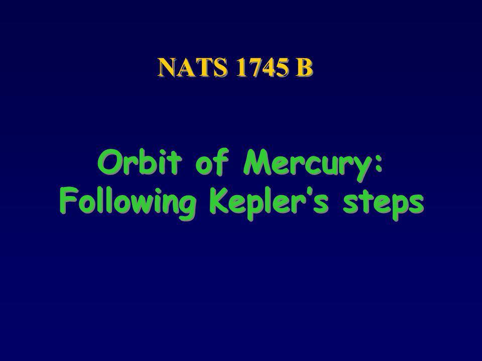 Orbit of Mercury: Following Keplers steps NATS 1745 B